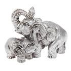 "Нэцкэ полистоун серебро ""Слон со слонёнком"" 6х8,5х4,5 см"