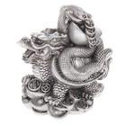 """Нэцкэ полистоун серебро """"Дракон и змея смонетами и слитками золота"""" 9х9х5,5 см"""