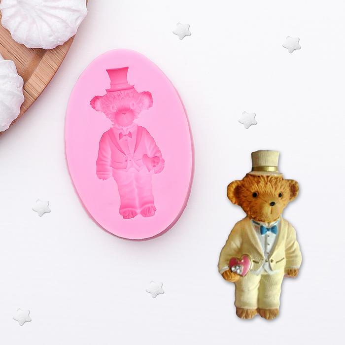 """Молд силиконовый 7,3×5,4 см """"Мишка в шляпе"""" - фото 189909880"""
