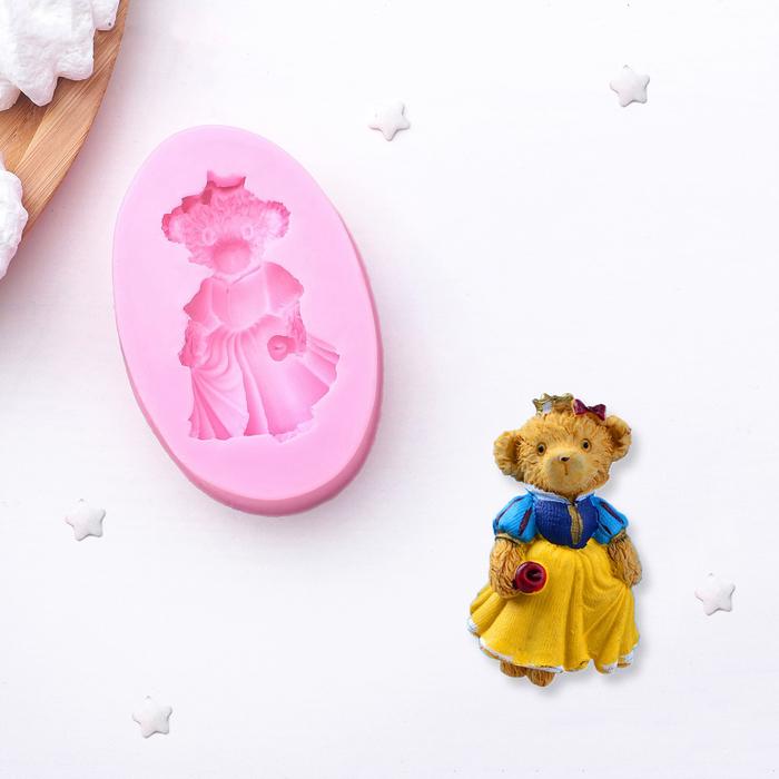 """Молд силиконовый 8,4×5,5 см """"Мишка в платье"""" - фото 189910398"""