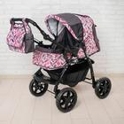 Коляска-трансформер «Гном», пластиковые колёса, оттенки розового, рисунок МИКС - фото 105548305