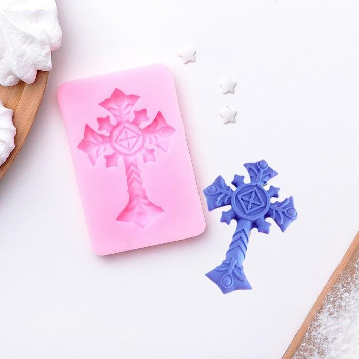 """Молд силиконовый 9×6 см """"Крест"""", цвет МИКС - фото 308041841"""