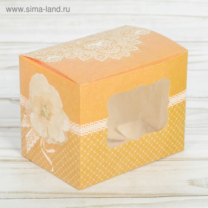Коробочка для капкейка «С нежностью для тебя», 10 х 8 х 7 см.