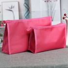 Set of cosmetic bags 2 in 1, division zipper, color raspberry