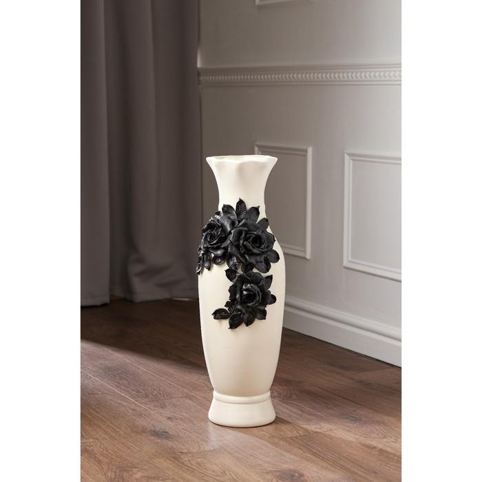"""Ваза напольная """"Илона"""", белая, чёрная лепка, керамика, 63 см, микс - фото 910763"""