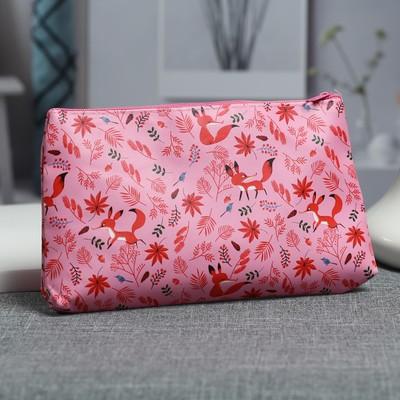 Косметичка простая «Лисички», отдел на молнии, цвет розовый