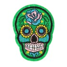 "The decoration on the head of a pin ""Skull with green rose"" for clothing, bags, shoes"
