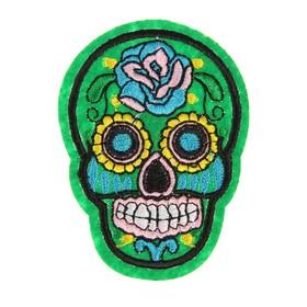 Декор на булавке «Череп зелёный с розой» для одежды, сумок, обуви Ош