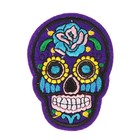 """The decoration on the head of a pin """"Skull with blue rose"""" for clothing, bags, shoes"""