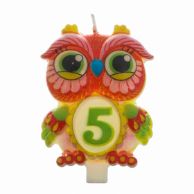 """Candle in cake number 5 """"Owl"""""""