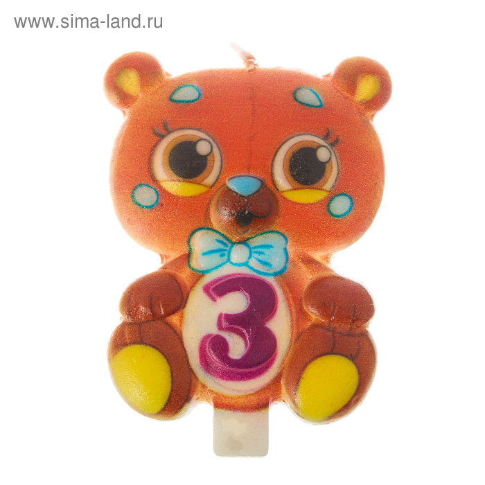"""Candle in cake number 3 """"Bear"""""""