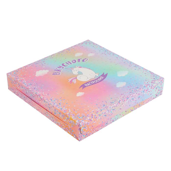 Упаковка для кондитерских изделий «Вкусного настроения», 25 × 25 × 4.5 см