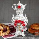 "Самовар электрический с заварником ""Царский"", в наборе: самовар 4 л и чайник 0,5 л, красная роза - фото 244915221"