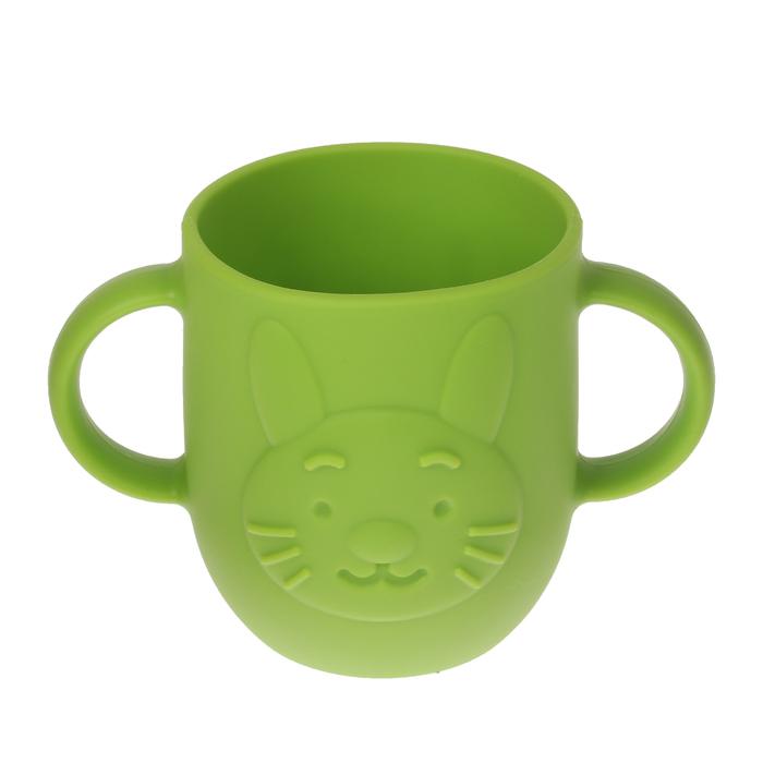 Кружка детская 320 мл, силиконовая с двумя ручками, цвет зелёный - фото 105460918