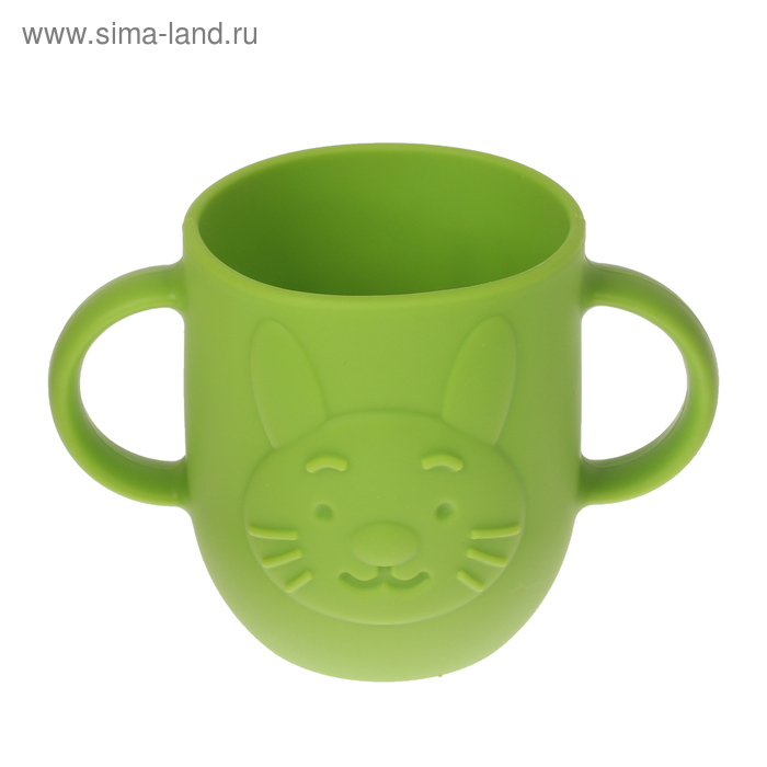 Кружка детская 320 мл, силиконовая с двумя ручками, цвет зелёный