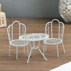 "Сувенир металл ""Стол и два стула"" набор 3 шт стол 6х7х7 см стул 8,5х5х4,7 см"