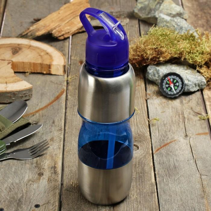 Бутылка для воды с поильником, 750 мл, ручка, микс, 8х27.5 см