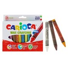 Мелки восковые 24 цвета Carioca Wax Crayons Maxi 100/12 мм круглые, толстые 42390