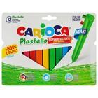 Мелки пластиковые 12 цветов Carioca Plastello Maxi Trio 95/12 мм, трехгранные