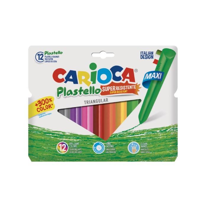 Мелки пластиковые 12 цветов Carioca Plastello 115/8 мм круглые, в конверте