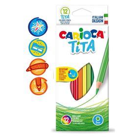 """Карандаши 12 цветов Carioca """"Tita"""", 3.0 мм, шестигранные, пластиковые, картон, европодвес"""