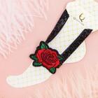 """Браслет на ногу """"Роуз"""" вышивка, цветы розы, цвет красно-зелёный в чёрном"""