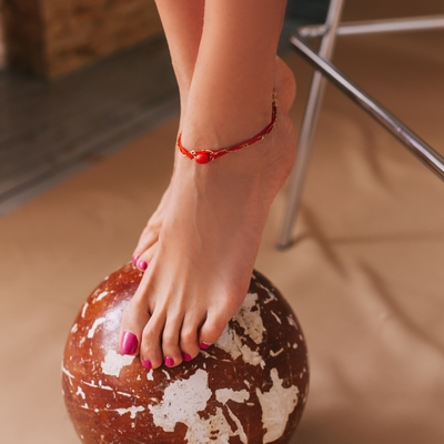 "Anklet ""Sunset"" braid, red gold"