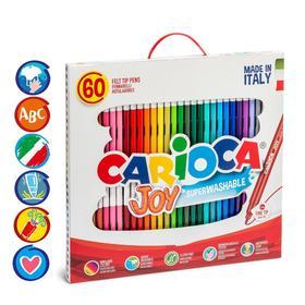 """Фломастеры 30 цветов Carioca """"Joy"""" 2.6 мм, набор 60 штук, смываемые, картон, чемоданчик с ручкой"""