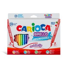 Фломастеры двусторонние 24 цвета, Carioca Birello 2.6/4.7 мм, в картонной коробке