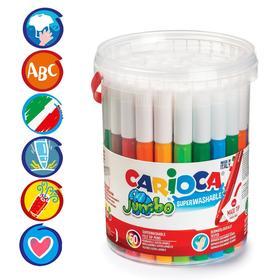 """Фломастеры 36 цветов Carioca """"Maxi. Jumbo"""" 6 мм, набор 50 штук, утолщенные, смываемые, банка с ручкой"""