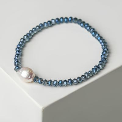 "Pearl bracelet ""Pearl valley"", the color blue and white"