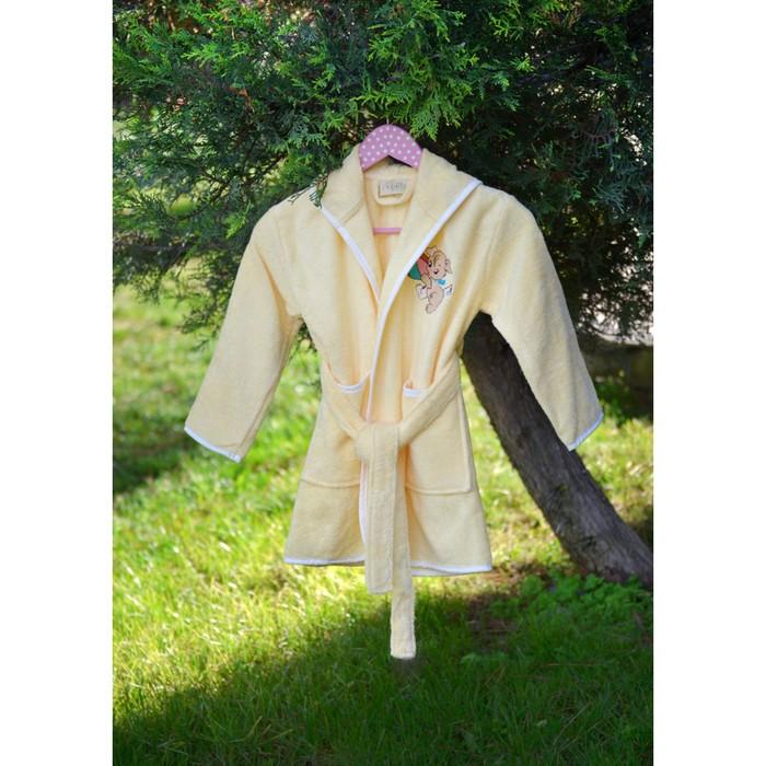 Халат детский с вышивкой, 6-8 лет, цвет жёлтый 2943