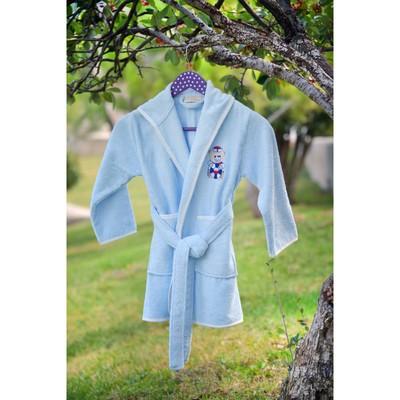 Халат детский с вышивкой, 6-8 лет, цвет голубой 2944