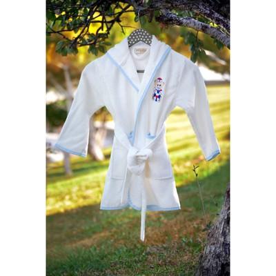Халат для мальчика с вышивкой, 6-8 лет, цвет кремовый 2948