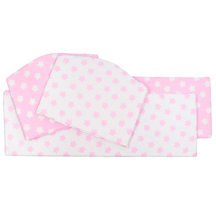 Бортики в кроватку Stelle Rosa, 4 части, цвет розовый