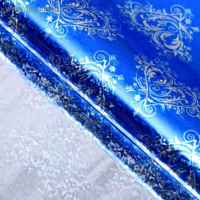 """Бумага голография """"Ажурное сердце"""", цвет синий"""