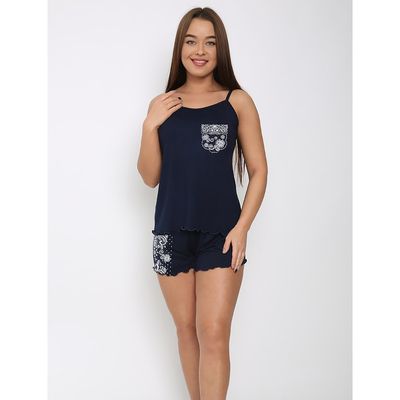 Пижама женская П-620 цвет синий, р-р 46   вискоза
