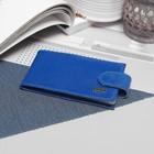Визитница горизонтальная, 1 ряд, 18 листов, с хлястиком, ящерица/скат, цвет синий