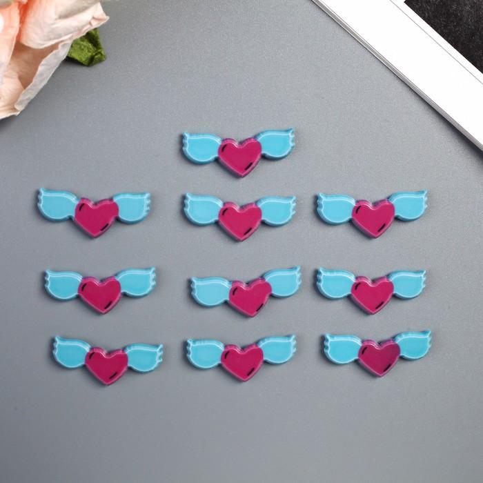 """Декор для творчества пластик """"Сердце с крыльями"""" набор 10 шт 1х2,7 см - фото 420896"""