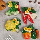 """Магнит полистоун """"Овощи с цветами"""" МИКС 7,5х6,5 см"""
