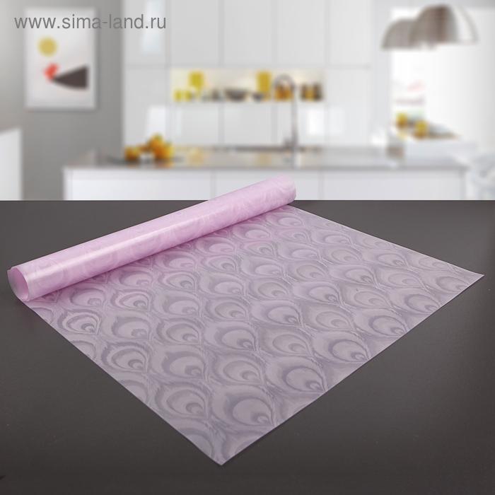 """Коврик противоскользящий сервировочный """"Перья"""" 45х90 см, цвет розовый"""