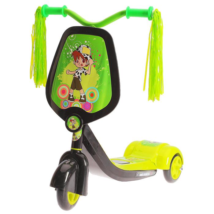 Самокат детский SCOOTER, цвет чёрно-зеленый
