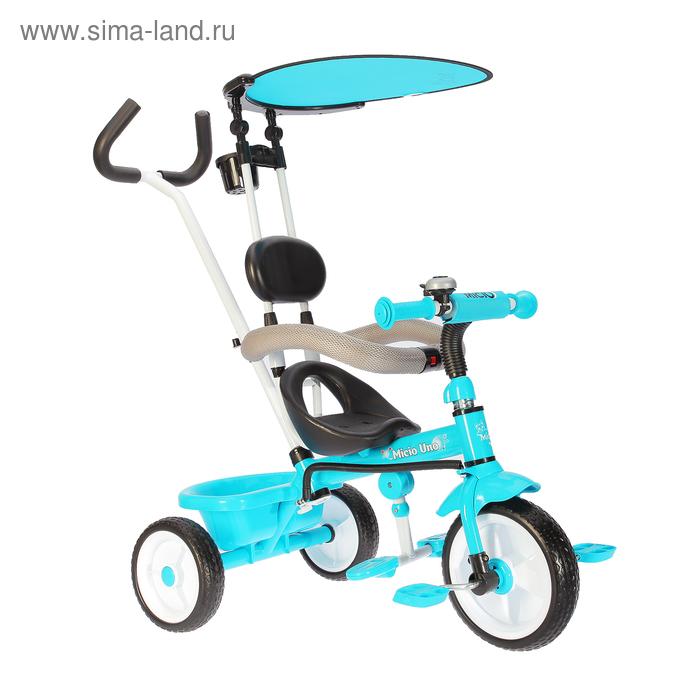 """Велосипед трёхколёсный Micio Uno 2018, колёса EVA 10""""/8"""", цвет голубой"""