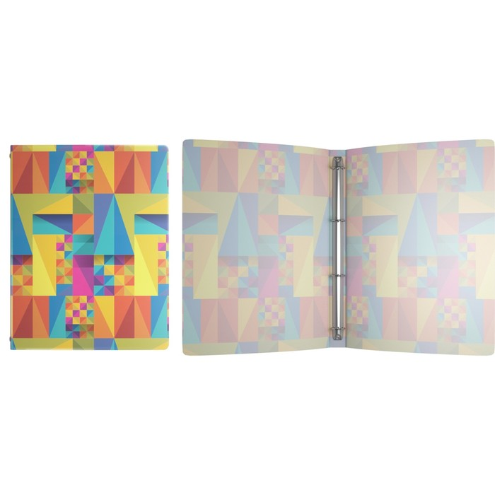 Папка на 4 кольцах А4, 24мм Erich Krause Arlecchino, пластиковая, толщина 550мкм, тиснение - песок, вместимость до 150 листов