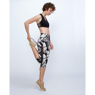 Бриджи спортивные с прозрачными вставками ONLITOP Fitness Diamonds, размер 42-44, цвет серый