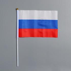 Флаг 21х14 см России на присоске, шток 31 см, полиэстер, пластик Ош