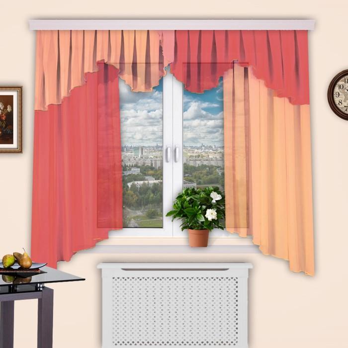 """Шторы кухонные """"Каприз"""", 150х160 см-1 шт., 50х550 см-1 шт., цвет 197"""