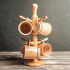 Набор деревянных кружек с подставкой, 6 шт., 250 мл, микс