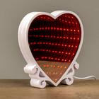 """Светильник LEDх25 от usb """"Сердце с эффектом бесконечности"""" красный/розовый свет 15х14х3 см"""