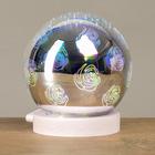 """Светильник от usb """"Зеркальный шар с эффектом объемного рисунка - Розочки"""" 14х13х13 см"""